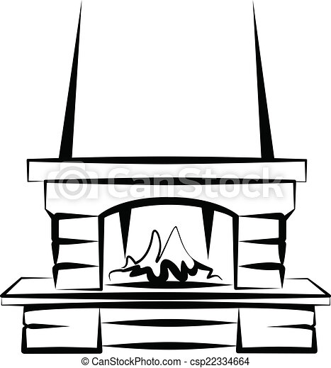 simple vector illustration of a fireplace sketch clip art vector rh canstockphoto com fireplace clip art images fireplace clipart pictures