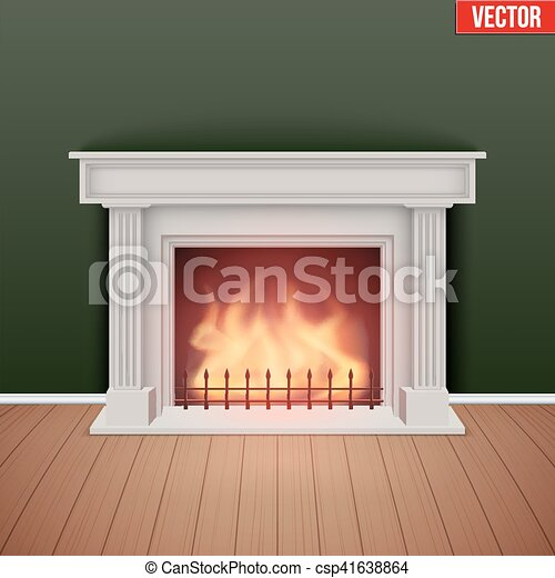 Fireplace in house cozy room. - csp41638864