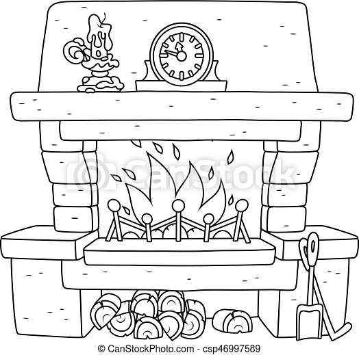 Fireplace with burning firewood. Black and white vector ...