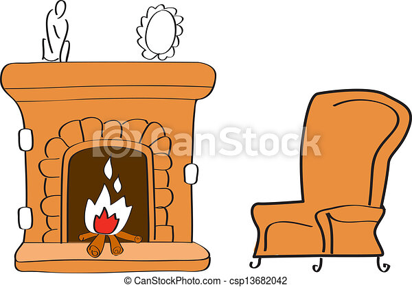 Fireplace with chair.
