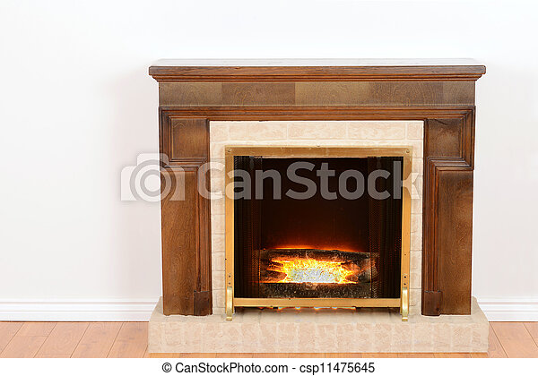 fireplace with fake fire with wood floor rh canstockphoto com