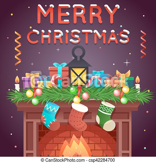 Christmas Celebration Cartoon Images.Fireplace With Socks Gifts Candles Template Christmas Celebration 3d Cartoon Design Vector Illustration