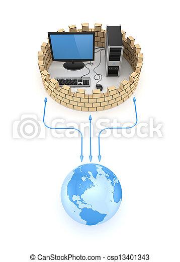Firewall concept. - csp13401343