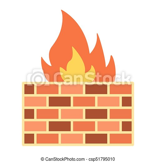 Firewall flat icon, security and brick wall, vector ...