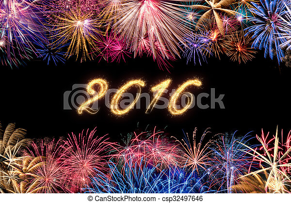 firework border with date 2016 csp32497646