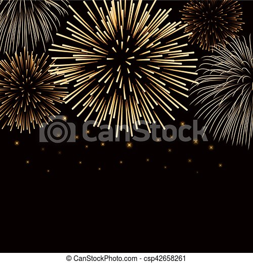 firework bursting sparkle background gold csp42658261