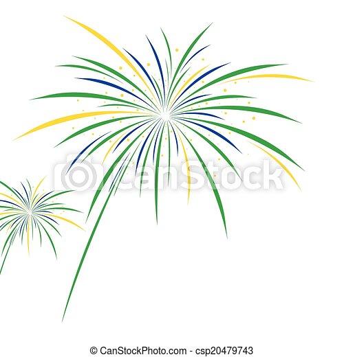 Firework design on white background - csp20479743