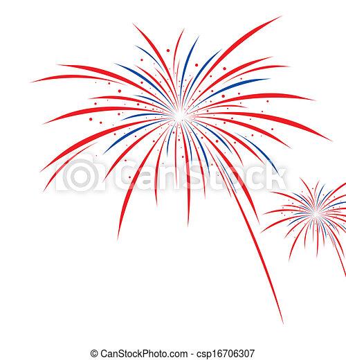 Firework design on white background - csp16706307