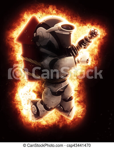 firework, explosion, roboter, 3d - csp43441470