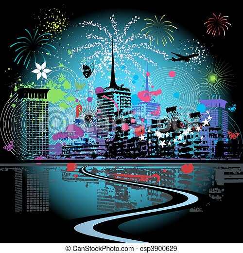 Firework in the city - csp3900629