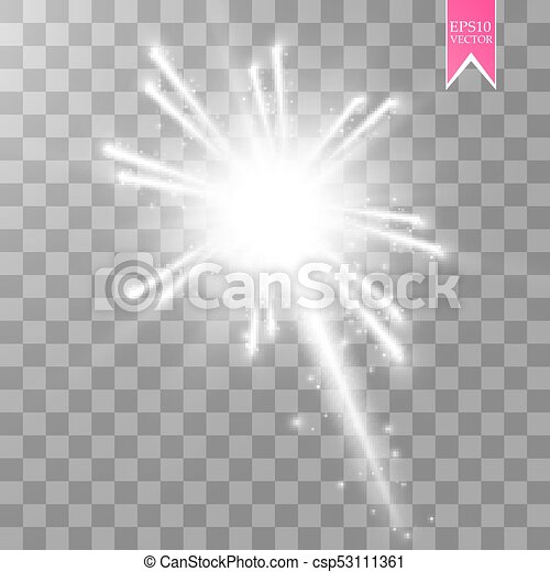 firework lights effect with glowing stars in sky isolated on