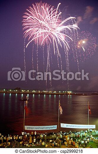 Firework- Phnom Penh, Cambodia - csp2999218