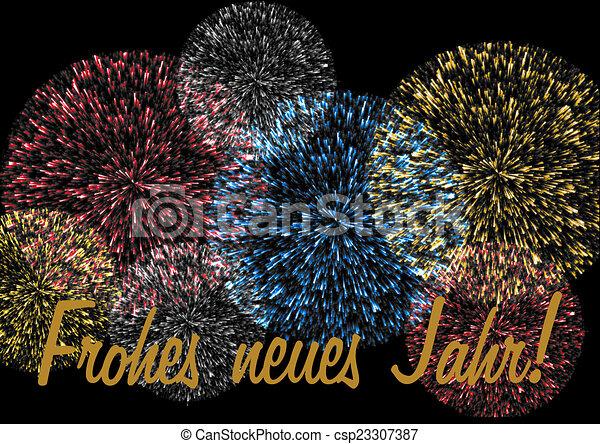 Firework with new year wishes german happy new year lettering in firework with new year wishes german csp23307387 m4hsunfo