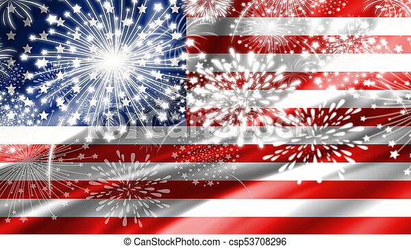 fireworks and usa flag background csp53708296