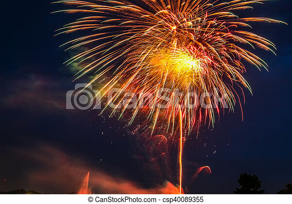 Fireworks at Suanluang Rama IX, it is the public park. - csp40089355