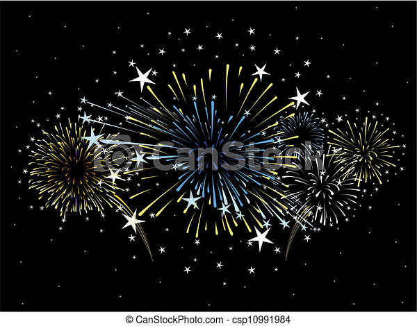 fireworks background vector - csp10991984