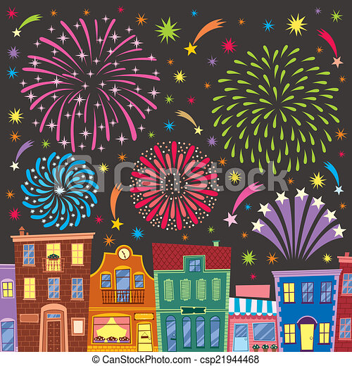 Fireworks above cartoon city. no transparency and ...
