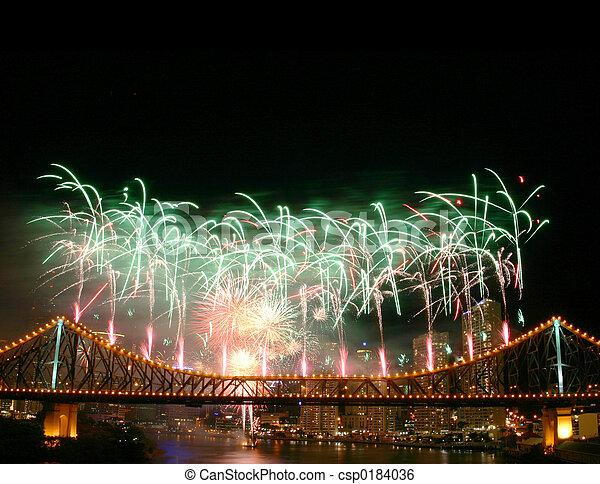 fireworks, copyspace - csp0184036