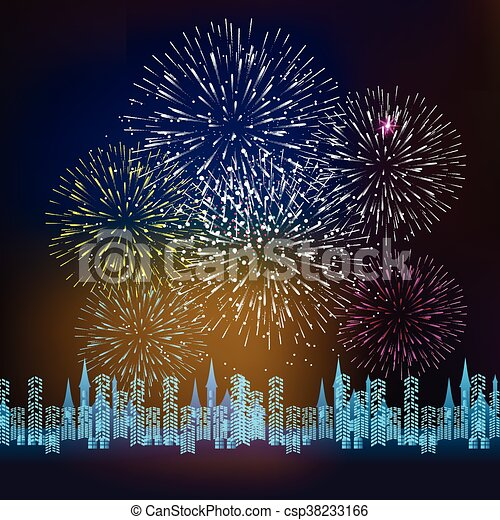 fireworks display for new year csp38233166