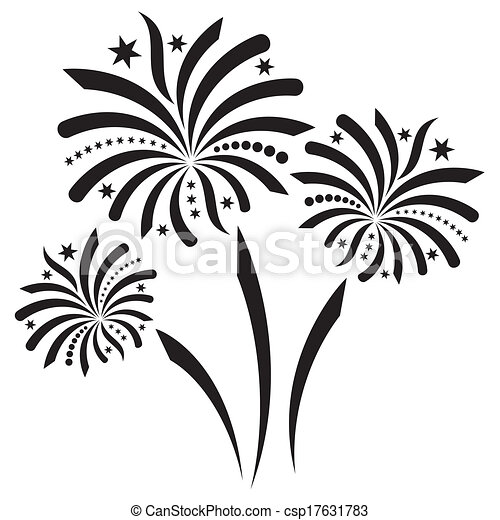 Fireworks Beautiful Black Vector Firework Isolated On White Background