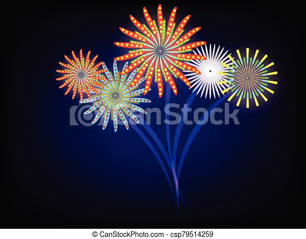 Fireworks event on blue dark sky - csp79514259