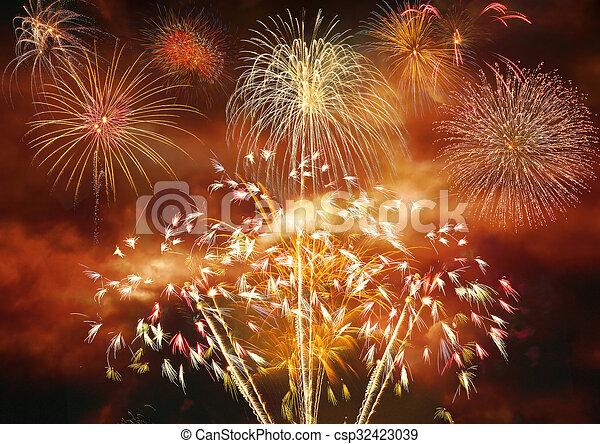 fireworks explosion celebrating new year csp32423039