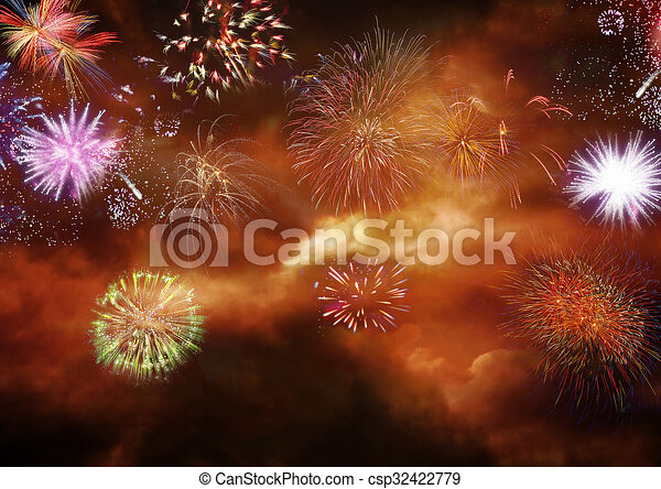 fireworks explosion celebrating new year csp32422779