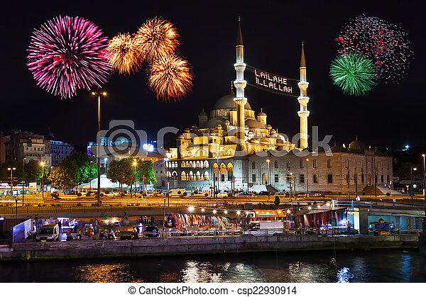 Fireworks in Istanbul Turkey - csp22930914