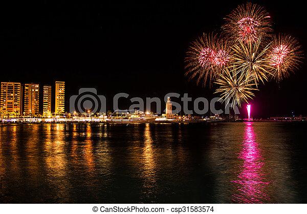 Fireworks in Malaga - csp31583574