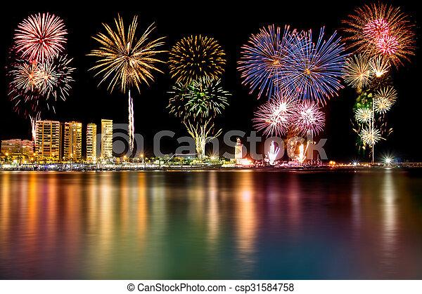 Fireworks in Malaga - csp31584758