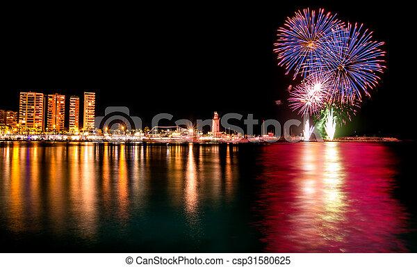 Fireworks in Malaga - csp31580625