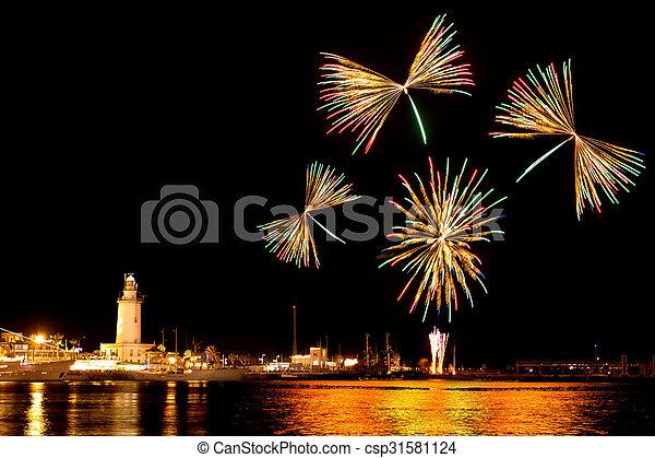 Fireworks in Malaga - csp31581124