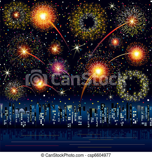 Fireworks in the city - csp6604977