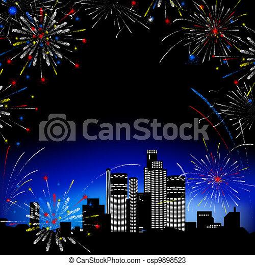 fireworks., multi-storey, bâtiments. - csp9898523
