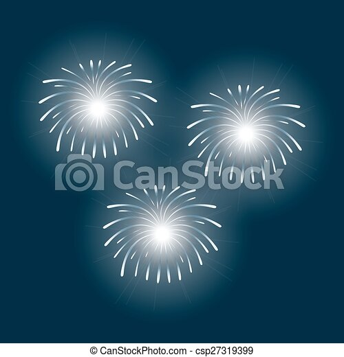 fireworks on a blue background - csp27319399