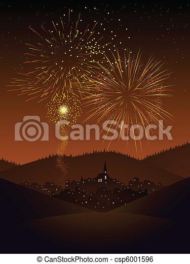 Fireworks over a village. Fireworks display over a ...