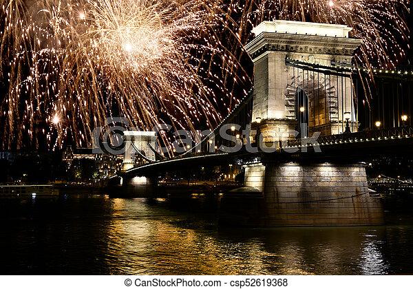 Fireworks over Danube river, Budapest, Hungary - csp52619368