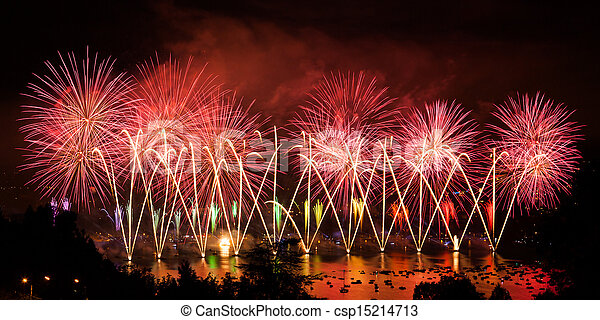 Fireworks over the city of Annecy in France for the Annecy Lake party - csp15214713