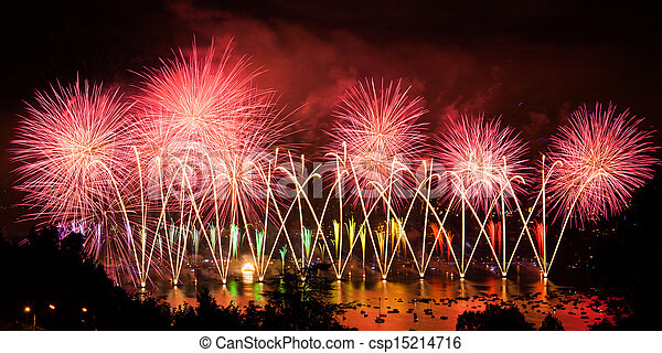 Fireworks over the city of Annecy in France for the Annecy Lake party - csp15214716