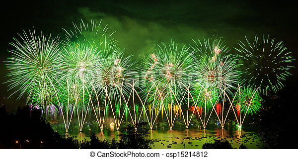 Fireworks over the city of Annecy in France for the Annecy Lake party - csp15214812