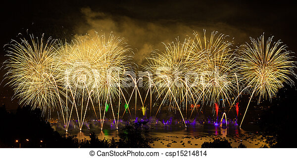 Fireworks over the city of Annecy in France for the Annecy Lake party - csp15214814
