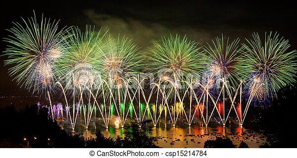 Fireworks over the city of Annecy in France for the Annecy Lake party - csp15214784