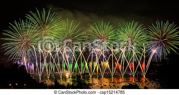 Fireworks over the city of Annecy in France for the Annecy Lake party - csp15214785