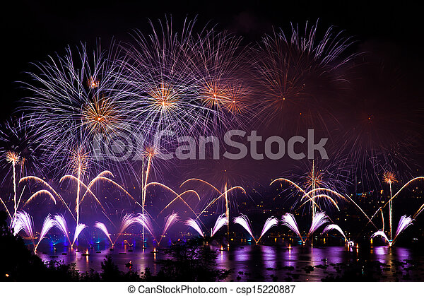 Fireworks over the city of Annecy in France for the Annecy Lake party - csp15220887