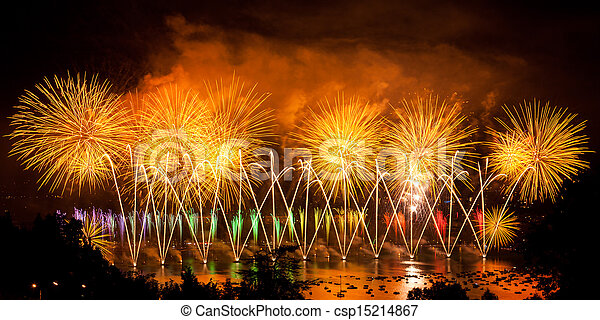 Fireworks over the city of Annecy in France for the Annecy Lake party - csp15214867