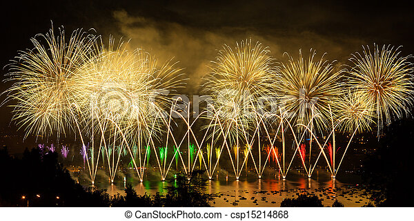 Fireworks over the city of Annecy in France for the Annecy Lake party - csp15214868