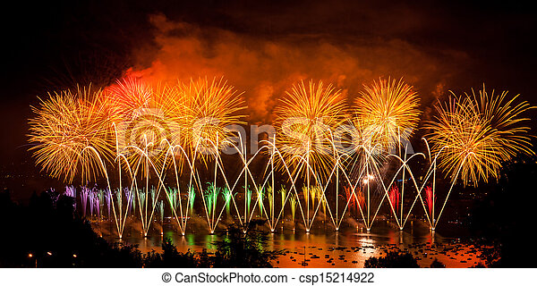 Fireworks over the city of Annecy in France for the Annecy Lake party - csp15214922