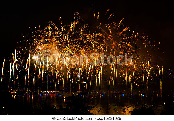 Fireworks over the city of Annecy in France for the Annecy Lake party - csp15221029