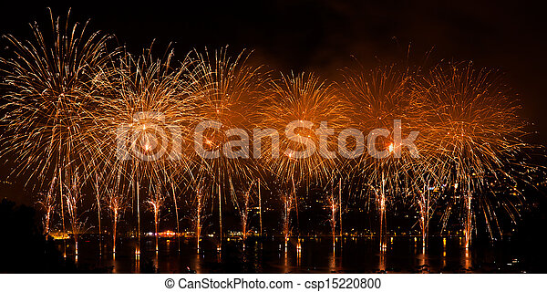 Fireworks over the city of Annecy in France for the Annecy Lake party - csp15220800