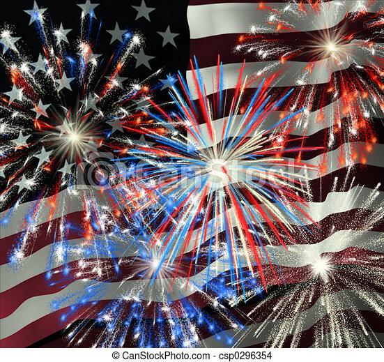 Fireworks over US Flag 2 - csp0296354